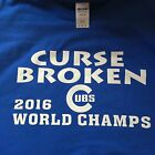 T-shirt Chicago Cubs Curse Broken World Champs 2016 Black Red Blue 5 Size series