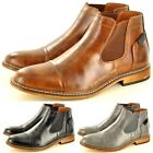 Men's Italian Style Leather Lined Chelsea  Ankle Pointed Toe Boots UK Sizes 6-11