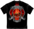 WE WILL NEVER FORGET 9-11-01 BRAVERY SACRIFICE HONOR BLACK ADULT T-SHIRT NEW