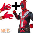 Deadpool Top + Gloves Fancy Dress Marvel Book Day Adult Superhero Costume Outfit