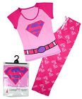 Womens Official SUPERGIRL S Logo Cotton Gift Pack Pyjamas Plus Sizes 8 to 22