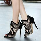Women's Fashion High Heels Peep Toe Strappy Lace Hollow Stiletto Sandals Shoes