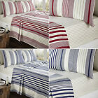 Double Bed Striped 100% Warm Brushed Cotton Flannelette Fitted Flat SHEET SET