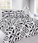 Union jack Polycotton Duvet/Quilt Cover bedding set BLACK & Pillow Cases