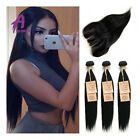 Brazilian Hair with Closure Hair Weave 3 bundles with Closure 8a US STOCK