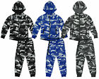 Boys Kenster Army Camo Combat Zipper Hoody Tracksuit Set 3 to 14 Years