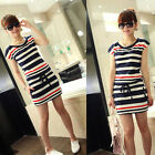 Fashion Women Casual Blue Red Striped Dress crew Neck Short Sleeve Mini Dress