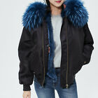 MA1 Bomber Blue Black Fox Fur Collar Fur-Trim Hooded Parka inspired Mr Mrs Fur