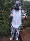 Adult Onesie Zebra Unisex Animal Fluffy Costume Party Jumpsuit Hoodie Pajama New