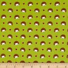 FOX WOODS HEDGEHOGS LIME MICHAEL MILLER  SEWING CRAFT QUILT FABRIC Free Oz Post