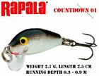 Rapala COUNTDOWN CD01 / 2.5 cm / 2.7 g. Brand new. DIFFERENT COLORS