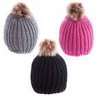 Ladies/Womens Girls Winter Hat Cap Knit Beanie Ski Cap with Soft Faux Fur Large