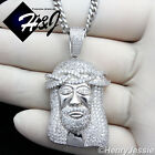 """925 STERLING SILVER ICED OUT JESUS FACE PENDANT+18-36""""X3MM CURB LINK CHAIN*SP29"""