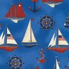 DOWN BY THE SEA NAUTICAL SAIL BOATS BLUE SEWING CRAFT QUILT FABRIC Free Oz Post