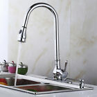 """18"""" 16"""" Kitchen Sink Faucet Brushed Nickel Pull-Out Spray Swivel Spout Dispenser"""