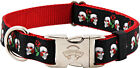 Country Brook Design® Premium Skull & Roses on Red Ribbon Dog Collar