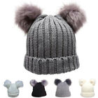 NEW WOMEN'S TRENDY WINTER WARM CABLE KNIT DOUBLE POM POM FASHION BEANIES BN2382