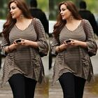 Plus Size Women Casual Loose Irregularity Blouse Striped Long Sleeve V Neck Top
