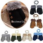 Children Kids Baby Plush Winter Hand Warm Gloves Mittens With Neck String Strap