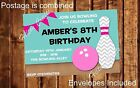 Bowling Party Invites Girls Personalised Birthday Invitations with envelopes