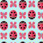 SUNSHINE DAY LADY BEETLE BUTTERFLY BLUE QUILT SEWING FABRIC *Free Oz Post