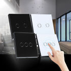 Home Smart Touch Wall Control Light Switch Crystal Glass Panel 1 Way 2/3 Gang