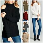 Boho Cold Shoulder Cable Knit Turtleneck Sweater Ivory Black Grey Cozy L/S S-L
