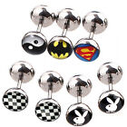 1 Pair Superman Batman TaiChiman Double face Stainless Steel  men women Earring