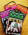 Ladies Small Hippy Zip Coin Purse Long Shoulder Strap & Sequined Thai Elephant