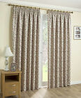 Woburn Designer Leaf Thermal Blackout Pencil Pleat Tape Curtains, Red on Natural
