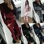 New Women Velvet Tracksuits Long Sleeve Pullover Top Drawstring Pants Sweatshirt