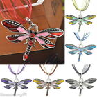 HX Women Fashion Dragonfly Charms Necklace With Chain Rhinestone Inlay Gemstone