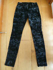 JOE'S JOES THE SKINNY BLACK GREY PATTERN VELVET JEANS TROUSERS 25 WAIST XXS UK 6