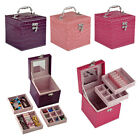 Pu Leather Mirror Jewelry Box Storage Organizer Ring Earring Necklace Case Gift