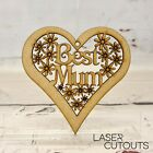 Best Mam/Mum Heart with Flowers, Mother's Day, Wooden, Lasercut, Blank, MDF Gift