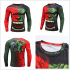 New Men's Fitness Long Sleeve T-shirts Comic Superheros Hulk 3D Print T-Shirts