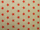 Natural Linen Look Red Stars Fabric - Curtains Blinds Upholstery Multi Use