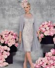 Grey Mother Of The Bride/Groom Outfits With Jacket Knee Length Formal Dress 6-20