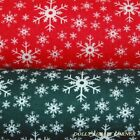 Christmas Festive Snowflakes Polycotton Fabric Green and White or Red and White