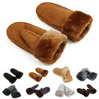 Lady Women's Real Sheepskin Mittens Gloves Fur Trim Leather Winter Warm Fashion