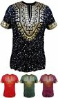 MENS GOLD FOIL PRINT PAINT SPLATTER DASHIKI T-SHIRT HIP HOP URBAN WEAR