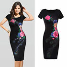 New women's fashion round neck Short sleeve print dress package hip dress wome
