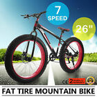 "Mountain Fat Tire Bike 26"" Wheel 7 Speed Steel Frame Beach Cruiser Bicycle Ship"