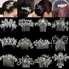 Nt Bridal Jewelry Silver Rhinestone Crystal Wedding Flower Pearls Hair Comb Clip