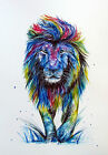 Stunning Abstract Multicoloured Lion Canvas Print - A0, A1, A2