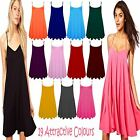 New Ladies Womens Plain Cami Swing Vest Sleeveless Flared Hanky TOP Dresses 8-22