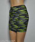 Mini Skirt Lycra Black Yellow Retro Abstract Lycra Party Womens Club Dancer H32