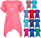 Womens Short Sleeve Stretch Uneven Dip Hem Ladies Brooch T-Shirt Top Plus Size