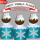 Christmas Pudding Bear Party 15 EDIBLE wafer Cupcake Toppers PRECUT cup cake