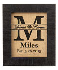 8x10 Classic Personalized Monogram  Burlap Print Wall Decor Gift